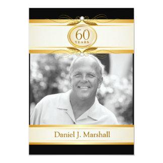 "60th Birthday Surpise Party - Black Gold Monogram 5"" X 7"" Invitation Card"