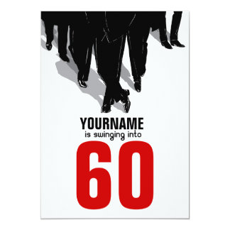 60th Birthday Swingers Rat Pack Party 13 Cm X 18 Cm Invitation Card