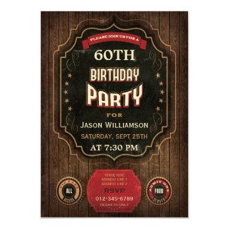 60th Birthday Vintage Chalkboard & Wood 13 Cm X 18 Cm Invitation Card
