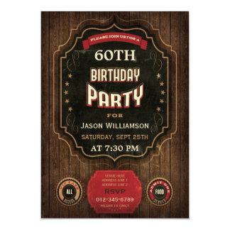 60th Birthday Vintage Chalkboard & Wood Card