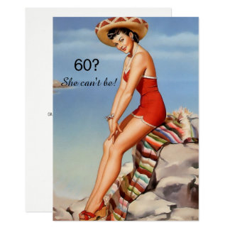 60th Birthday, Vintage, Sexy Pin Up Girl, Custom Card