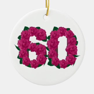 60th birthday wedding anniversary pink flowers ceramic ornament
