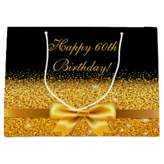 60th birthday with gold bow on chic black large gift bag