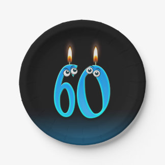 60th Birthday with lit candle numbers Paper Plate