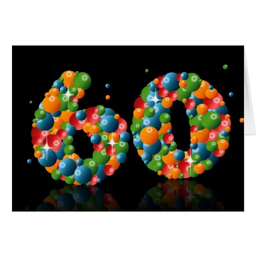 60th birthday with numbers formed from balls greeting cards