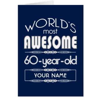60th Birthday Worlds Best Fabulous Dark Blue Greeting Card