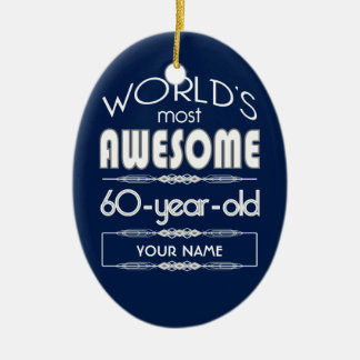 60th Birthday Worlds Best Fabulous Dark Blue Ceramic Ornament