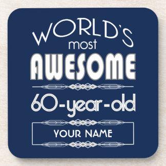 60th Birthday Worlds Best Fabulous Dark Blue Beverage Coaster