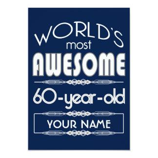 "60th Birthday Worlds Best Fabulous Dark Blue 5"" X 7"" Invitation Card"