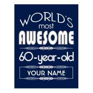 60th Birthday Worlds Best Fabulous Dark Blue Postcard