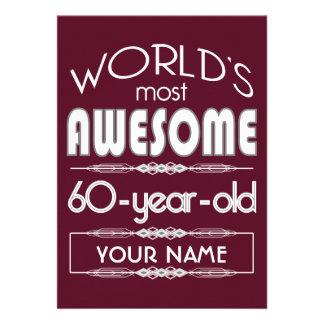 60th Birthday Worlds Best Fabulous Dark Red Card