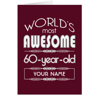60th Birthday Worlds Best Fabulous Dark Red Greeting Card