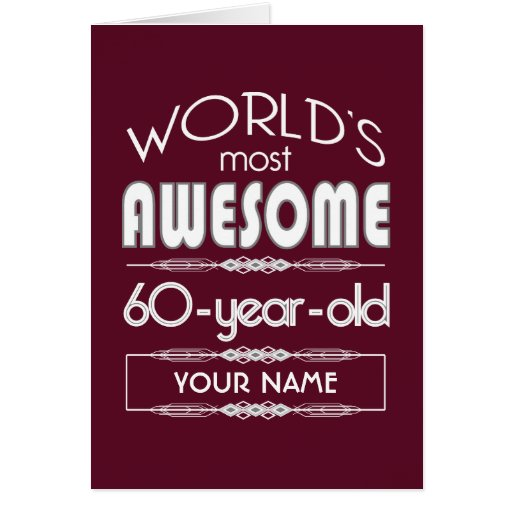 60th Birthday Worlds Best Fabulous Dark Red Greeting Card