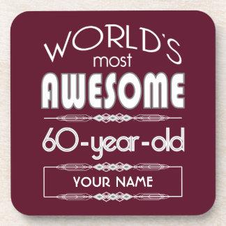60th Birthday Worlds Best Fabulous Dark Red Beverage Coasters
