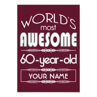 60th Birthday Worlds Best Fabulous Dark Red 5x7 Paper Invitation Card