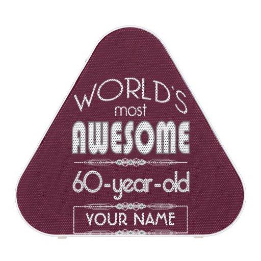 60th Birthday Worlds Best Fabulous Dark Red Maroon Speaker