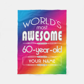 60th Birthday Worlds Best Fabulous Rainbow Fleece Blanket
