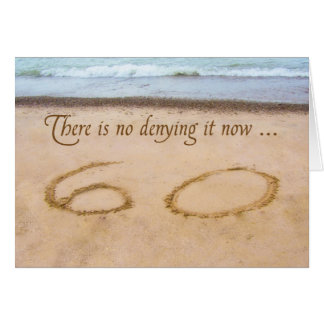 60th Birthday Writing in Sand Seashore Card
