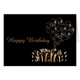60th Black Balloons Birthday | Diy Words Note Card