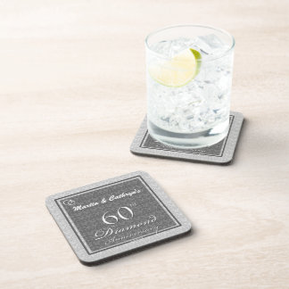 60th Diamond Anniversary Personalized Coasters