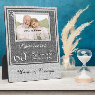 60th Diamond Anniversary | Silver Photo Plaque