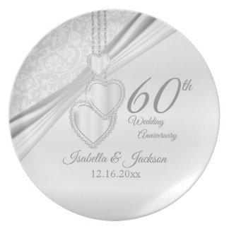 60th Diamond Wedding Anniversary Keepsake Plate