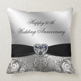 60th Diamond Wedding Anniversary Throw Pillow Throw Cushions