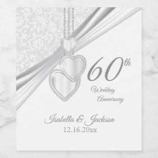60th Diamond Wedding Anniversary Wine Label