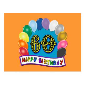 60th Happy Birthday Balloons Merchandise Postcard