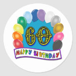 60th Happy Birthday Balloons Merchandise Round Stickers