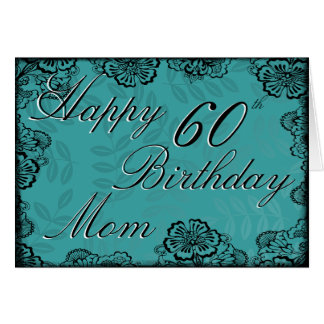 60th Happy Birthday Card - Teal Floral