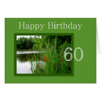 60th Happy Birthday Cat Tails on Pond Card