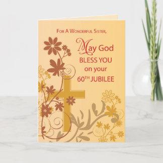 60th Jubilee Anniversary Nun Cross, Swirls, Flower Card