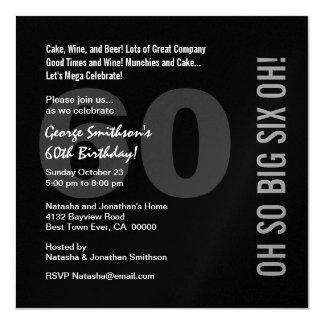 60th Modern Birthday Black White Red SIX OH Ver 02 13 Cm X 13 Cm Square Invitation Card