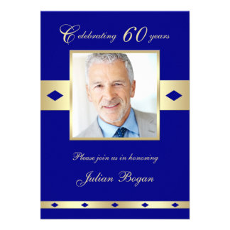 60th Photo Birthday Party Invitation - Navy 60 Announcements