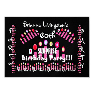 60th SURPRISE Birthday Party Candles Invitation
