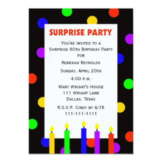 60th Surprise Birthday Party Invitation Dots