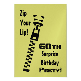 60th SURPRISE Lime Birthday Party Metallic Paper Card