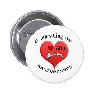 60th. Wedding Anniversary 6 Cm Round Badge