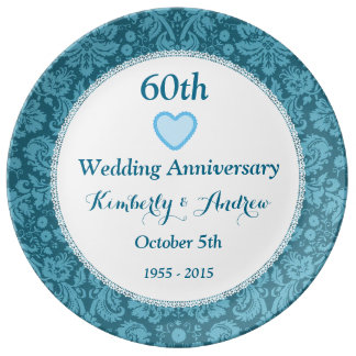 60th Wedding Anniversary BLUE Damask W60B Porcelain Plate