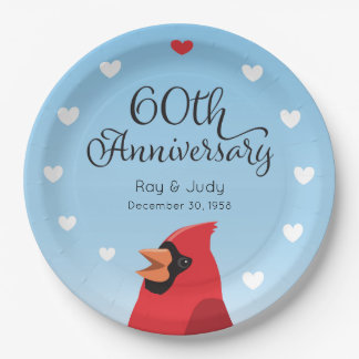 60th Wedding Anniversary, Cardinal and Hearts 9 Inch Paper Plate