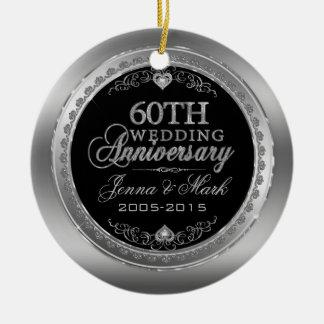60th Wedding Anniversary Ceramic Ornament