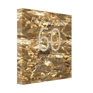 60th Wedding Anniversary Diamond Wedding Gold Look Canvas Print