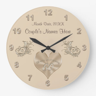 60th Wedding Anniversary Gift Couple's NAMES, DATE Large Clock