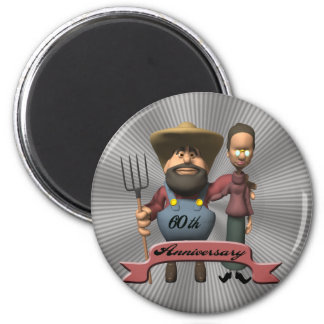 60th Wedding Anniversary Gifts 6 Cm Round Magnet