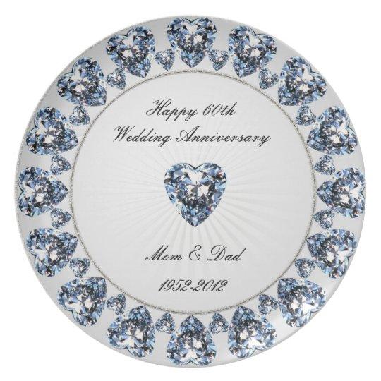 60th Wedding Anniversary Melamine Plate
