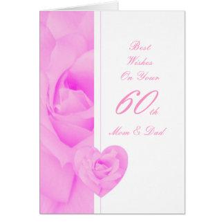 60th Wedding Anniversary Mom & Dad Purple Rose Hea Greeting Card
