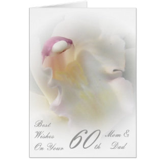 60th Wedding Anniversary Mom & Dad White Orchid Greeting Card