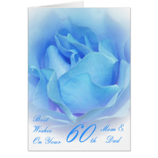 60th Wedding Anniversary Mum & Dad Blue Rose Card