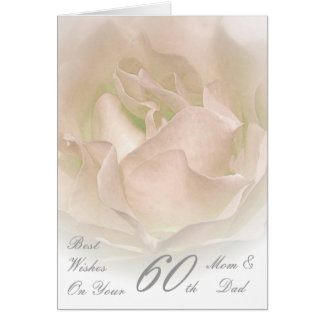 60th Wedding Anniversary Mum & Dad Ivory Rose Card